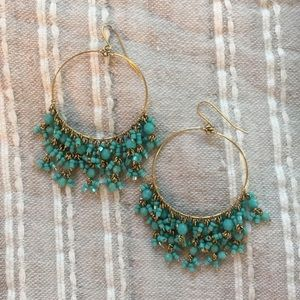 Turquoise and gold beaded hoop earrings
